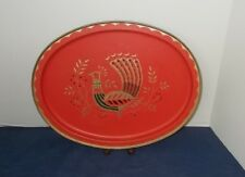 VIntage Mid Century Metal/Tin Oval Tray-Red w Gold Trim-Peacock in Center-14.5""