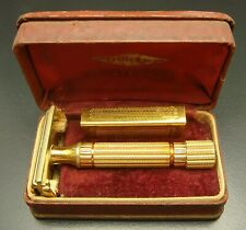 Vintage Gillette Aristocrat Gold Plated Heavy Handle Safety Razor In Case