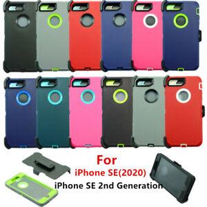 For Apple iPhone SE 2020 Hard Shockproof Rugged Case Cover w/ Screen & Belt Clip