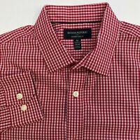 Banana Republic Button Up Shirt Mens Medium Red Check Long Sleeve Casual No Iron