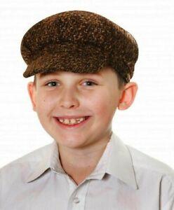 Kids Child Victorian Tudor Chimney Sweep Flat Cap Boys Hat Fancy Dress