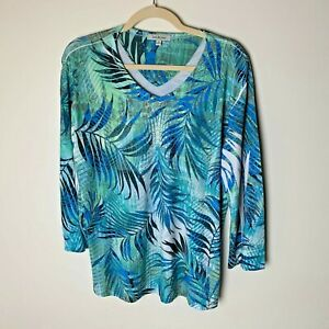 Jess & Jane Women's Top Size XL V-Neck 3/4 Sleeves Bling Casual Tropical Blue