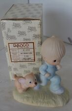 Precious Moments Figure 1979 God's Speed Boy Jogging With Dog With Box