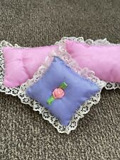 3 Vintage Barbie Bedroom Pillow Accessories Pink Purple Mattel Dollhouse Doll Ho