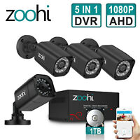 ZooHi 2MP CCTV Security Camera System Home 4CH HDMI DVR 1080P Kit Outdoor IP 1TB
