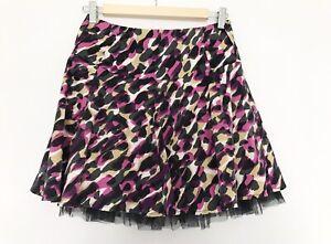 RIVER ISLAND Sz 10 Skirt Womens Leopard Pink Black Layered M 38 Boho Mini x