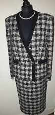 Work JAEGER Skirt Suit size 8  Black White Check Outfit Jacket