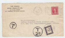 6c Eams short-paid 3c to * South Africa * Front Only postage due Canada