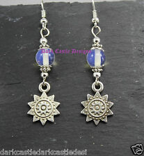 Pair SP Sun and Moon Stone Earrings Goth Pagan Wicca Rock Punk Solstice New Age