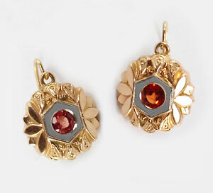 Antique 1940's Natural PADPARAJA Orange Sapphire 18k Yellow White Gold Earrings