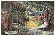 "Tucks Oilette ""A Hampshire Garden near Burton"" postmark Ipswich 1908 1/2d Green"