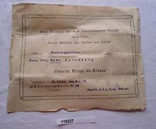 seltene Urkunde zum Eisernem Kreuz 2.Klasse 5.4.1918 1.Weltkrieg (116237)