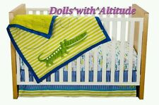 NEW Zutano Crib Set Alligators 4 Piece Quilt Fitted Sheet Dust Ruffle Diaper