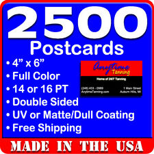 2500 Custom Full Color 4x6 Postcards w/UV Glossy - Real Printing - Free Shipping