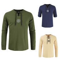 Men Shirts Solid Colour Shirts Linen Medieval Viking Embroidered Shirts M-4XL_gu
