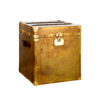 Storage Trunk Vintage Look Patina Finish Brass Teakwood Detail For Home n Travel