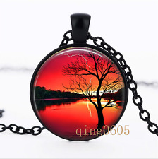 Red Sunset necklace photo Glass Dome black Chain Pendant Necklace wholesale