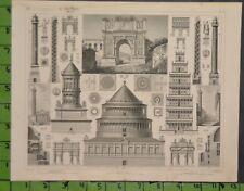 Ancient History Architecture 1849 Bilder Atlas Engraving -  12x9