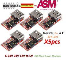 5pcs 6-24V 24V 12V to 5V USB Step Down DC-DC Converter Module