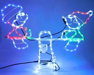 Christmas Concepts® Rope Light Snowman and Elf Animated Seesaw (RL005)