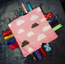 BABY TAGGY BLANKET TOY WITH COLOURFUL RIBBONS FREE DELIVERY