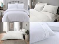 LUXURY POLYCOTTON WAFFLE DESIGN WHITE GREY DUVET COVER BEDDING SET PILLOW CASE