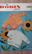"Genuine Vintage Robin Baby Cardigans 18-20"" Knitting Pattern DK no.1444"