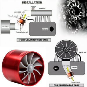 Air Intake Single Fan Turbine Gas Fuel Saver Turbo Supercharger w/Rubber Covers
