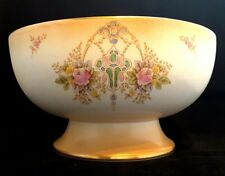 Crown Devon~Fieldings~REX~Antique~Blushware~Footed Bowl~Gold~Pink Roses~Lovely!
