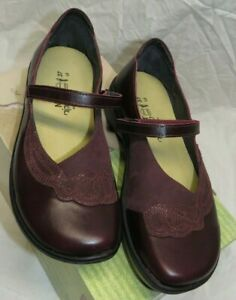 NAOT BLUEGILL BURGANDY Sz 37 (US 6) Leather Mary Jane Walking Loafer Shoes