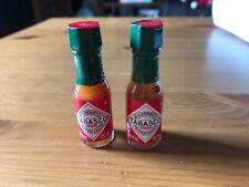 2 Mini Tabasco Bottle 1/8 fl oz. or 3.7 ml Hot Sauce Bottles Work Desk Sealed