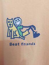 "LIFE IS GOOD WOMENS T- SHIRT SIZE L Cotton Orange ""Best Friend"" Short Sleeve"