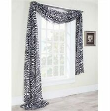 2 ZEBRA WHITE/BLACK SCARF SHEER VOILE WINDOW TREATMENT CURTAIN DRAPES VALANCE