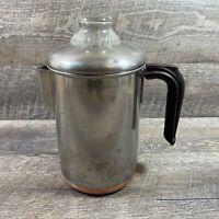 Vintage REVERE WARE 1801 Copper Clad Bottom Percolator 8 Cup Coffee Pot USA