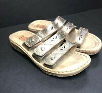 Earth Spirit Gelron 2000 Gold Metalic Leather Slide Comfort Sandals Size 9 M