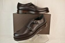 NIB GUCCI BROWN LEATHER 2X MONK STRAPS DRESS LOAFERS 12 US 13 #358272 ITALY
