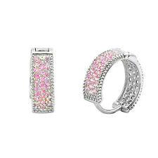 Sterling Silver Earrings Huggie Hoops Micropave Pink Cubic Zirconia 14mm x 4mm