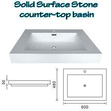 BATHROOM SOLID SURFACE STONE BASIN ABOVE COUNTER MATT FINISH 600 x 480 x 50