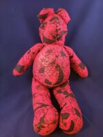 "18"" Handmade Teddy Bear  Red and black floral print"