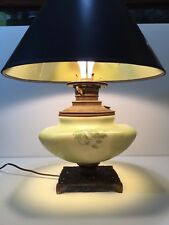 Antique Handpainted Round Square Shape Green Glass Vase w/Brass Table Lamp