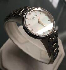 Ladies Genuine Bulova Diamond Gallery 96S159 Steel Mop Designer Watch