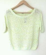 BNWT RIVER ISLAND LADIES SHORT SLEEVE JUMPER TOP PARTY WEAR LIME SIZE 8 RRP £28