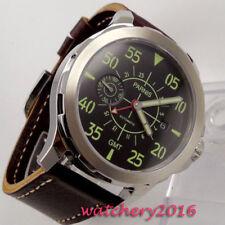 44mm PARNIS Schwarz dial GMT Leuchtzeiger Automatisch movement Uhr men's Watch