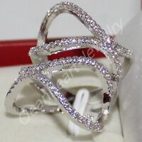 Size 6,7,8 Ladys Handmade 925 Silver White Sapphire Band Cocktail Curve Ring