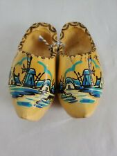 Dutch Wooden Shoes Hand Painted Child Small Holland Clog Windmill 7.5 In Vintage