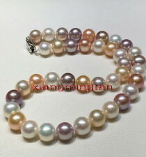 "AAAAA round 21""12-13mm REAL south sea pink purples multicolor pearl necklace 14K"