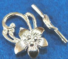 25Sets WHOLESALE Tibetan Silver-Plated Large FLOWER Toggle Clasps Hooks Q0268