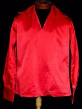 RARE VINTAGE 1970'S VIVID RED HEAVY SATIN  DISCO STYLE SHIRT SIZE  MEDIUM