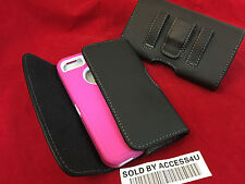 BLACK LEATHER POUCH BELT CLIP HOLSTER FOR IPHONE 6 PLUS 7 PLUS HYBRID ARMOR CASE