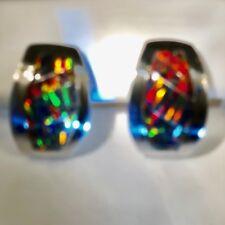 Wider curved Large GOLDEN Black RED Opal  Earrings Pierced Sterling 925 Ladies